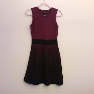 Plum/black knitted A-line dress